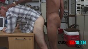 Horny twink blowing black dick