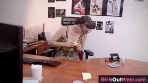 Babe Masturbates In The Office