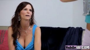 Proper busty MILF sharing a thick rod with daughter