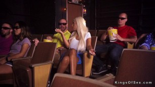 Huge tits blonde cheating at the movies