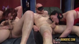Two hot sluts get drilled by several dudes in multiple positions