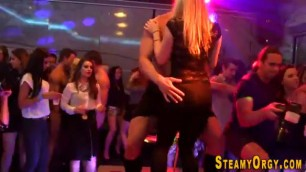 Cfnm partying teen sucks Cock at a party